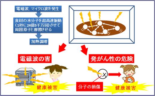 電子レンジの危険性図